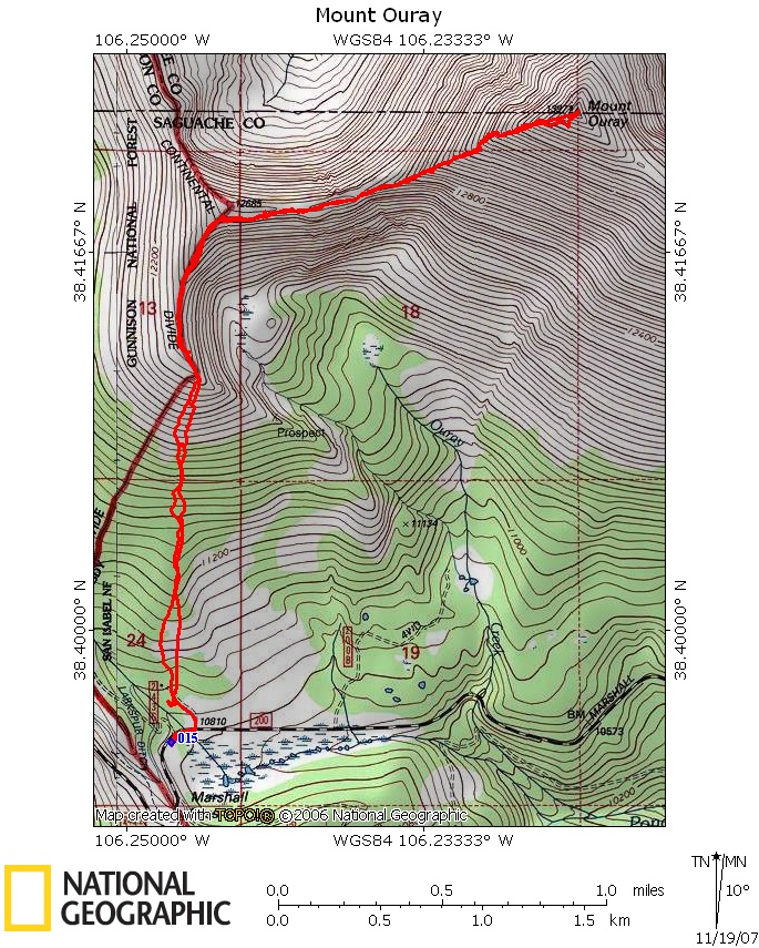 Mount Ouray - 14ers map us