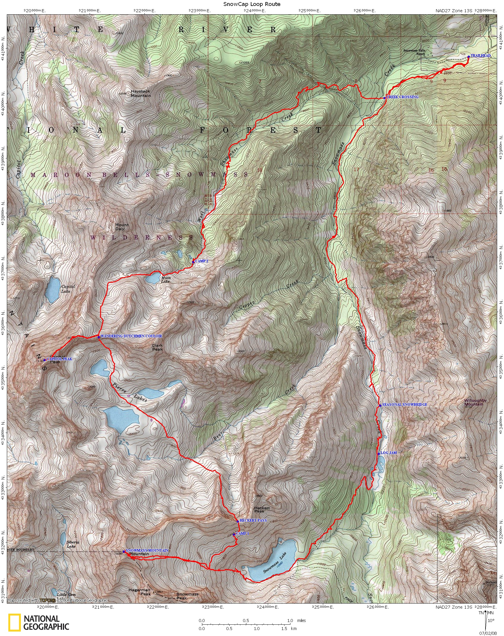 The SnowCap Loop (Combination of Snowmass Mountain and Capitol Peak)